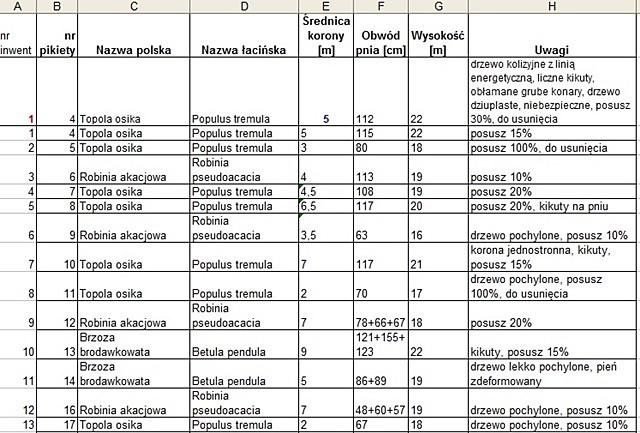 tabela inwentaryzacyjna